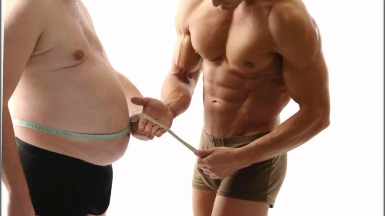 спортивный и толстый мужчина