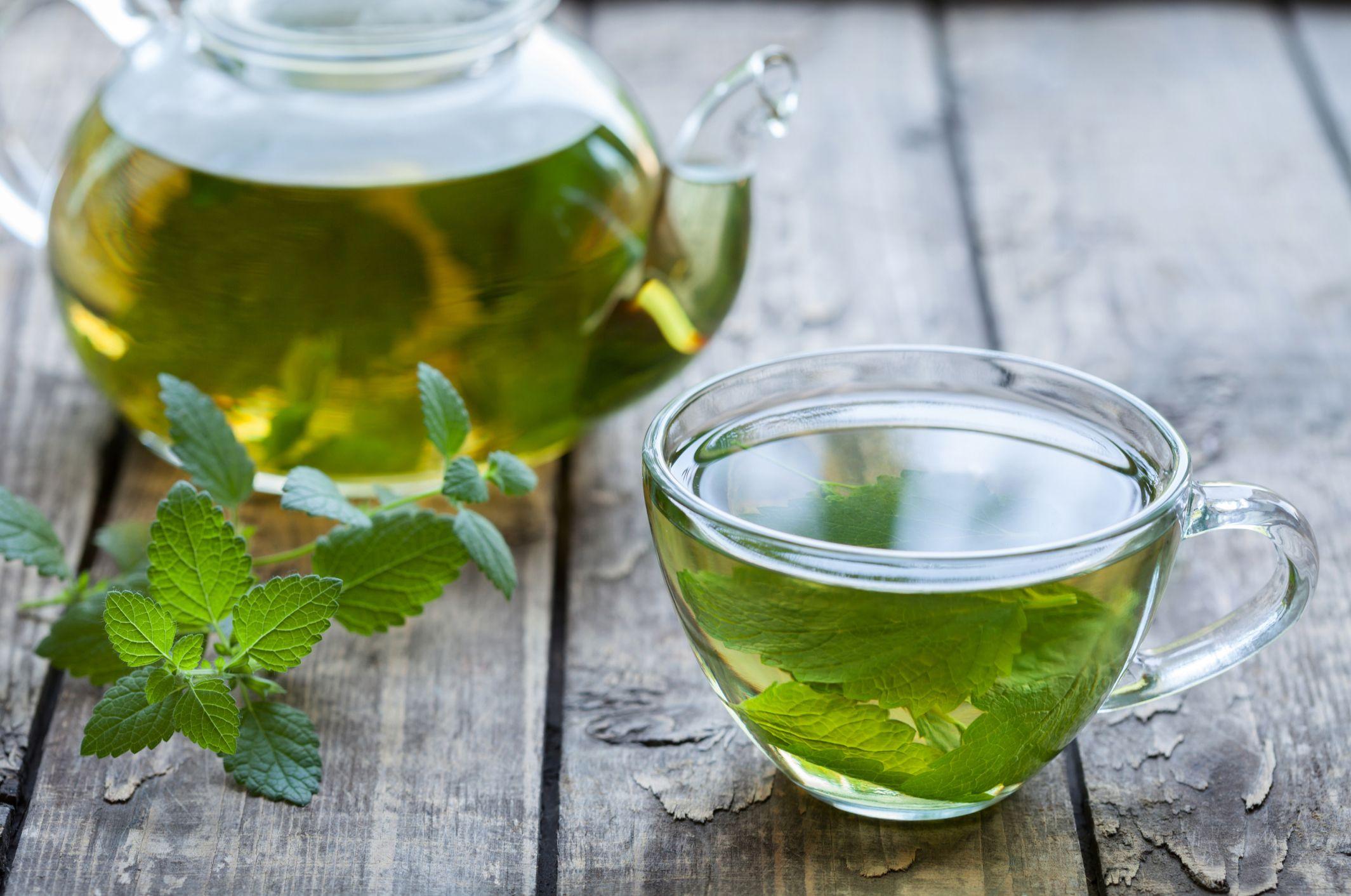 чай из мелиссы в прозрачной кружке и стеклянном заварочном чайнике