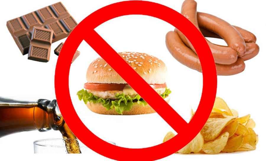запрет на фастфуд, сосиски, пиво, чипсы, шоколад