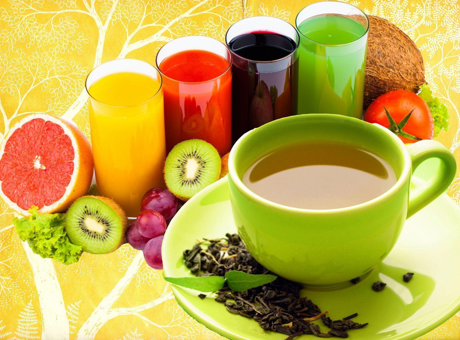 чай и свежевыжетые соки